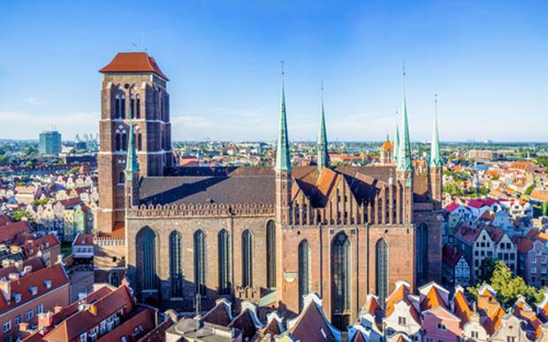Gdansk old city skyline with saint mary church
