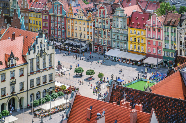 People walking on the market square in wroclaw poland top view