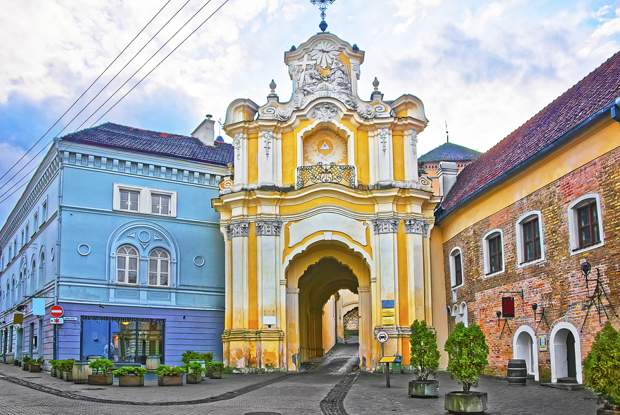Basilian monastery gate in the old town in vilnius in lithuania