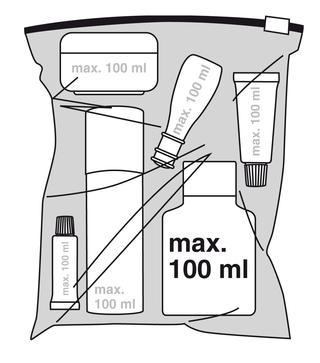 Zugelassene   Behältergrößen für Flüssigkeiten im Handgepäck