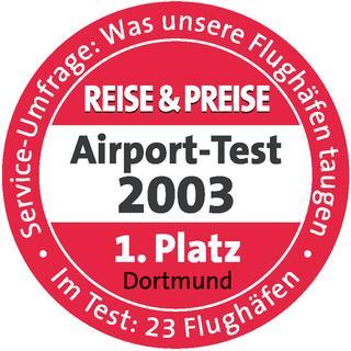 Siegel des Airport   Test 2003 - 1. Platz für Dortmund Airport