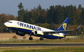 Flugzeug von Ryanair beim Start