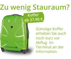 Werbung zum   Kofferkauf im Terminal - ab 37,90€