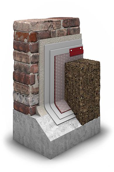 Der Schichtaufbau für die nachträgliche Vertikalabdichtung am Mauerwerk.