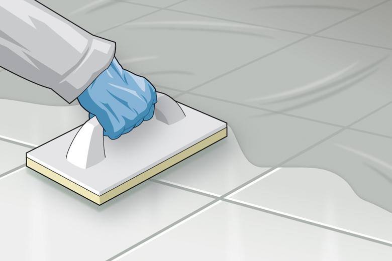 Abwaschen des Belages