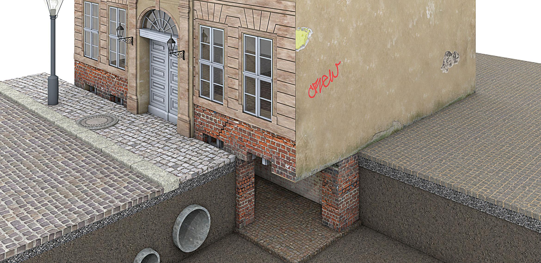 Fassadenschäden  Querschnitt des unteren Teils eines Altbaus mit verschiedenen Bauschäden