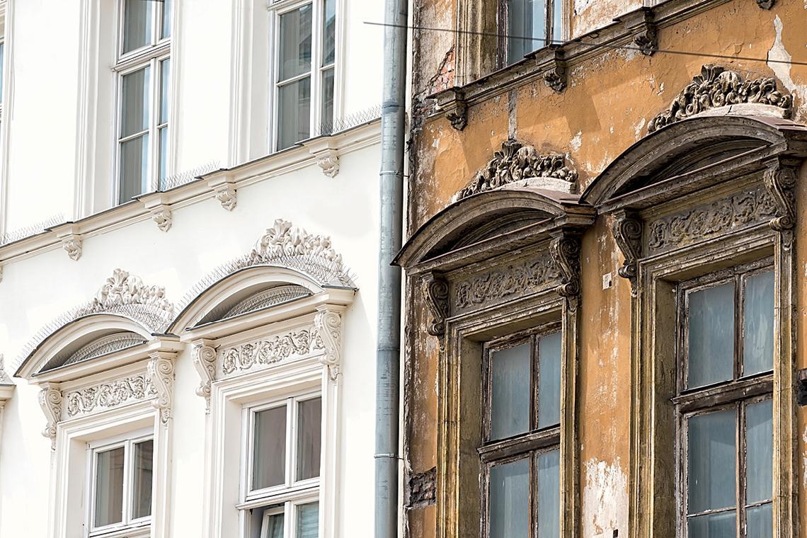 Bauzustandsanalyse | Verzierte Altbauten nebeneinander