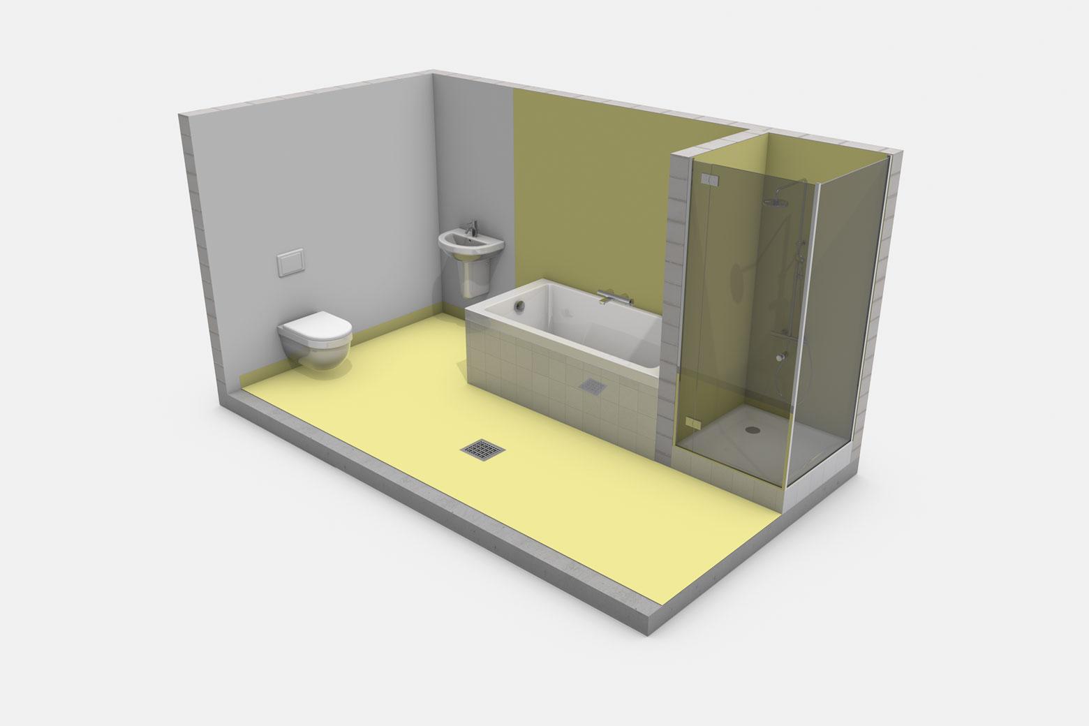 Häusliches Bad mit Badewanne ohne Brause sowie Duschtasse mit Duschabtrennung und mit Bodenablauf im Raum