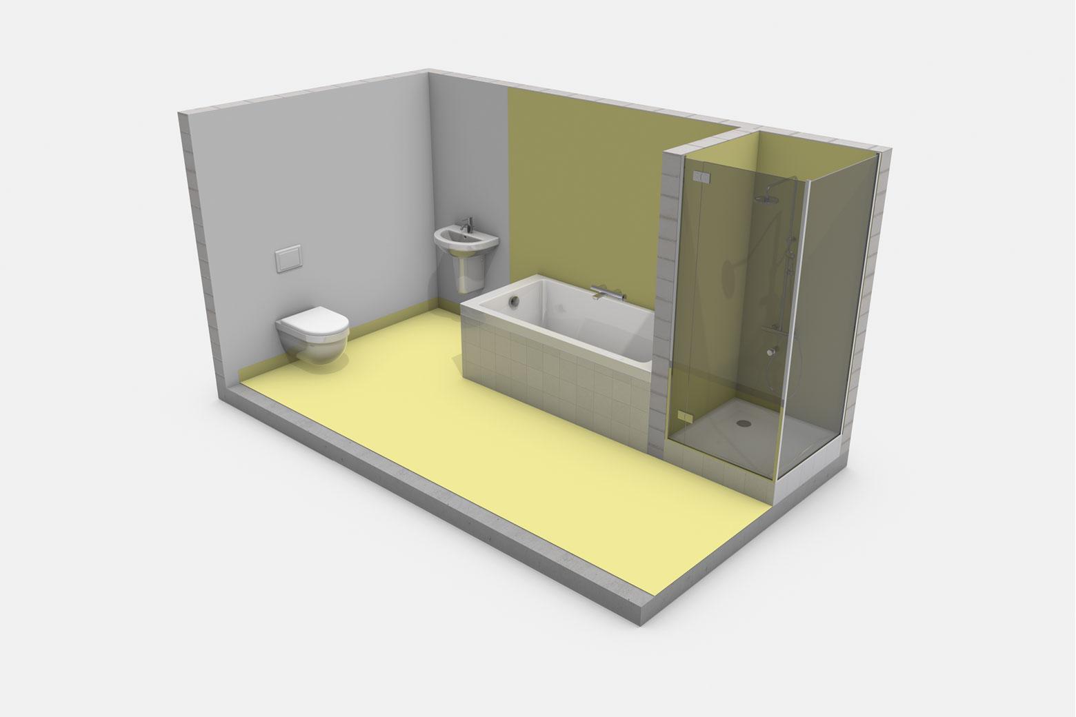 Häusliches Bad mit Badewanne ohne Brause und mit Duschtasse mit Duschabtrennung