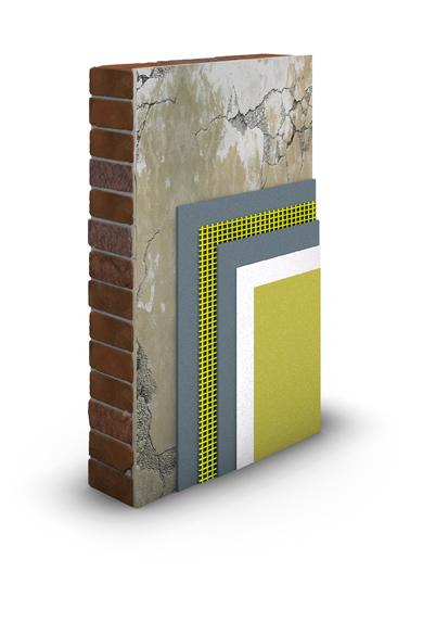 Der Schichtaufbau für die putztechnische Risssanierung an der Fassade.