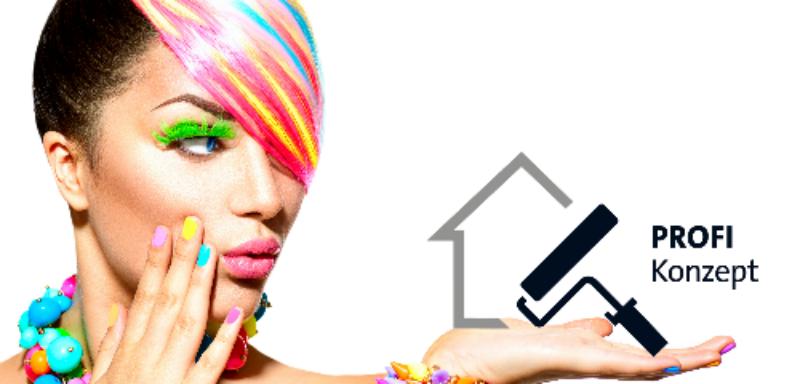 Frauenkopf mit bunter Frisur hält das Logo Profikonzept in der Hand