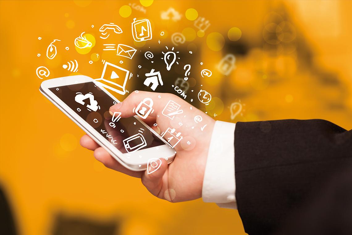 SAKRET Bausysteme | Social-Media-Symbole um Smartphone herum