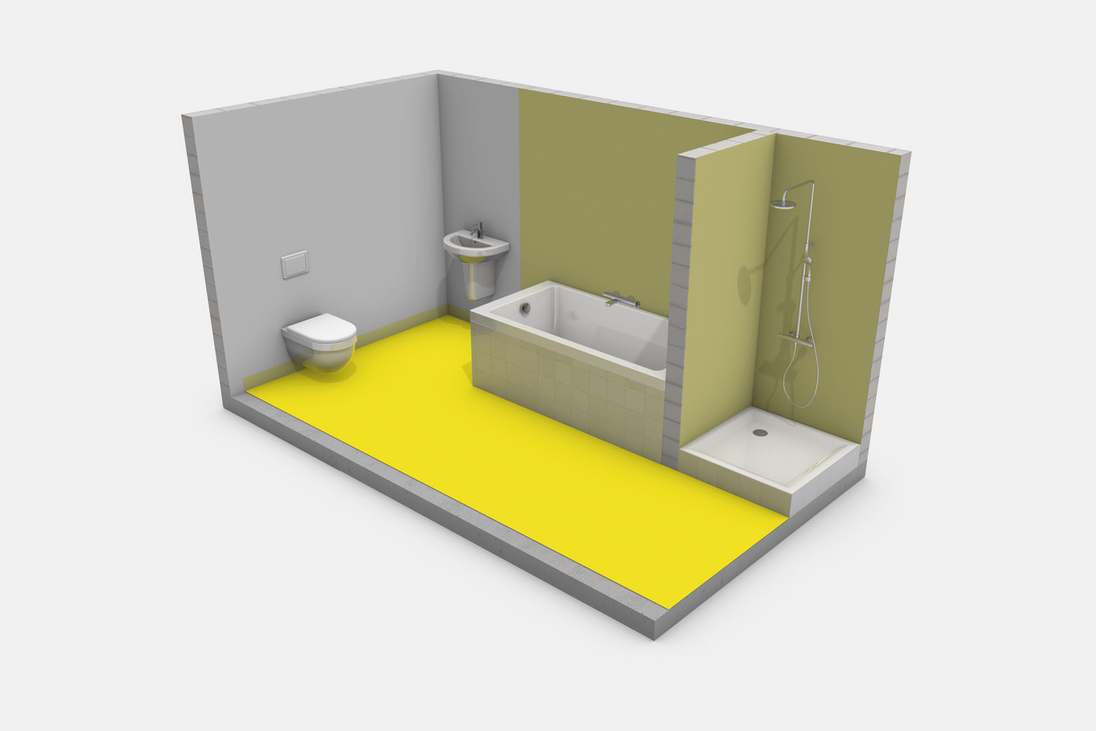 Häusliches Bad mit Badewanne ohne Brause und mit Duschtasse ohne Duschabtrennung