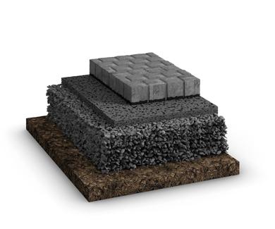 Der Schichtaufbau des Belags für oberflächenversiegelnde Systeme mit ungebundener Tragschicht im GaLaBau. Hier mit Pflastern als Belag.