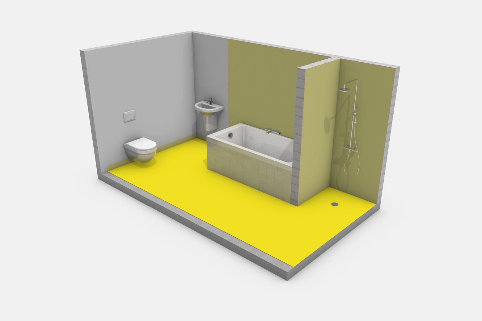 Häusliches Bad mit Badewanne ohne Brause und mit bodengleicher Dusche ohne Duschabtrennung