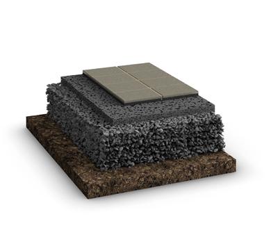 Der Schichtaufbau des Belags für wasserdurchlässige Systeme mit ungebundener Tragschicht im GaLaBau. Hier mit Platten als Belag.