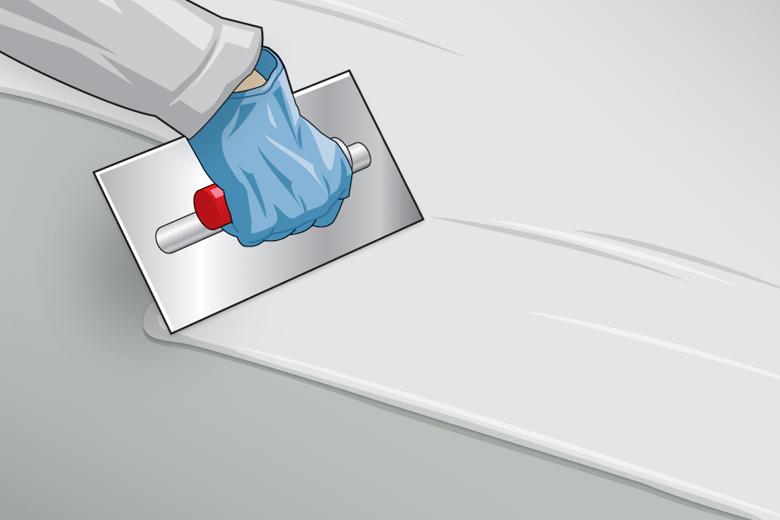 Einsatz von Spachtel- oder Ausgleichsmassen