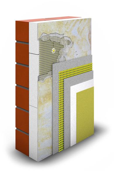 Der Schichtaufbau für die Sanierung von Armierungs- und Putzschichten an der Fassade.