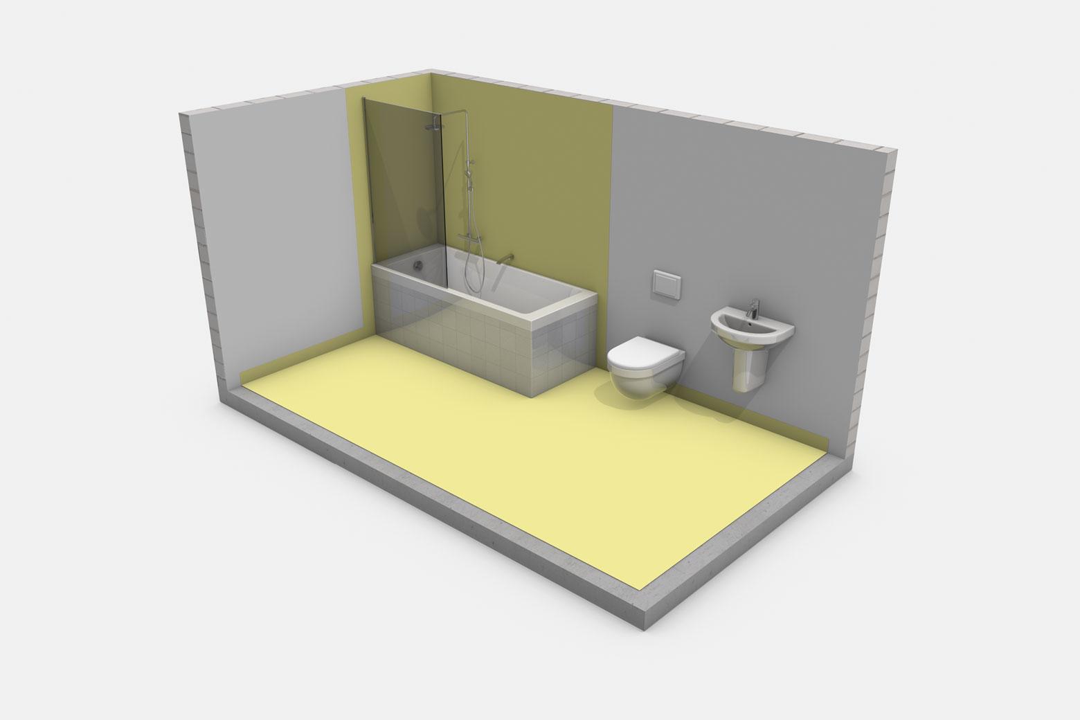 Häusliches Bad mit Badewanne mit Brause und Duschabtrennung