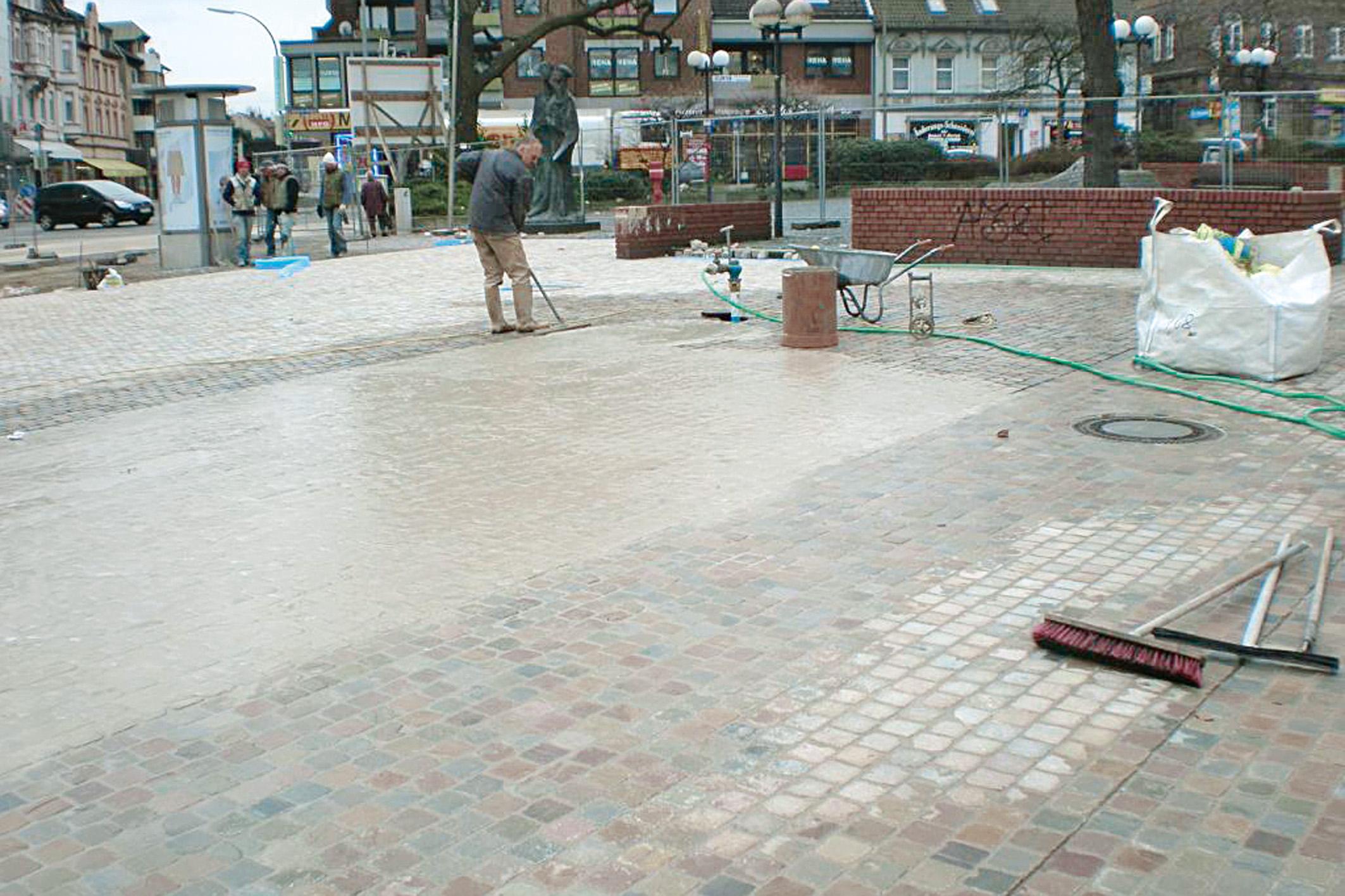 SAKRET Referenz Marktplatz Dortmund Pflastersteine Arbeiten