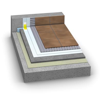Der Schichtaufbau für Bauteile im Außenbereich mit mäßiger Wasserbelastung (Balkone und Terrrassen).