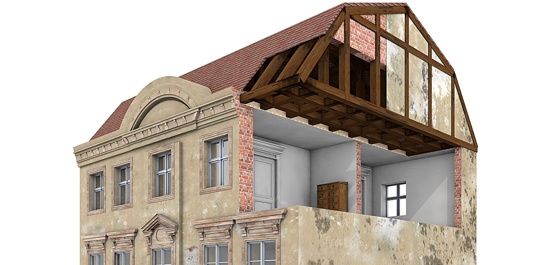 Fassadenschäden  Querschnitt eines Altbaus mit verschiedenen Bauschäden