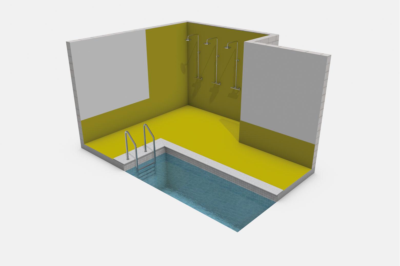 Reihendusche in Sportstätte sowie Umgänge von Schwimmbecken