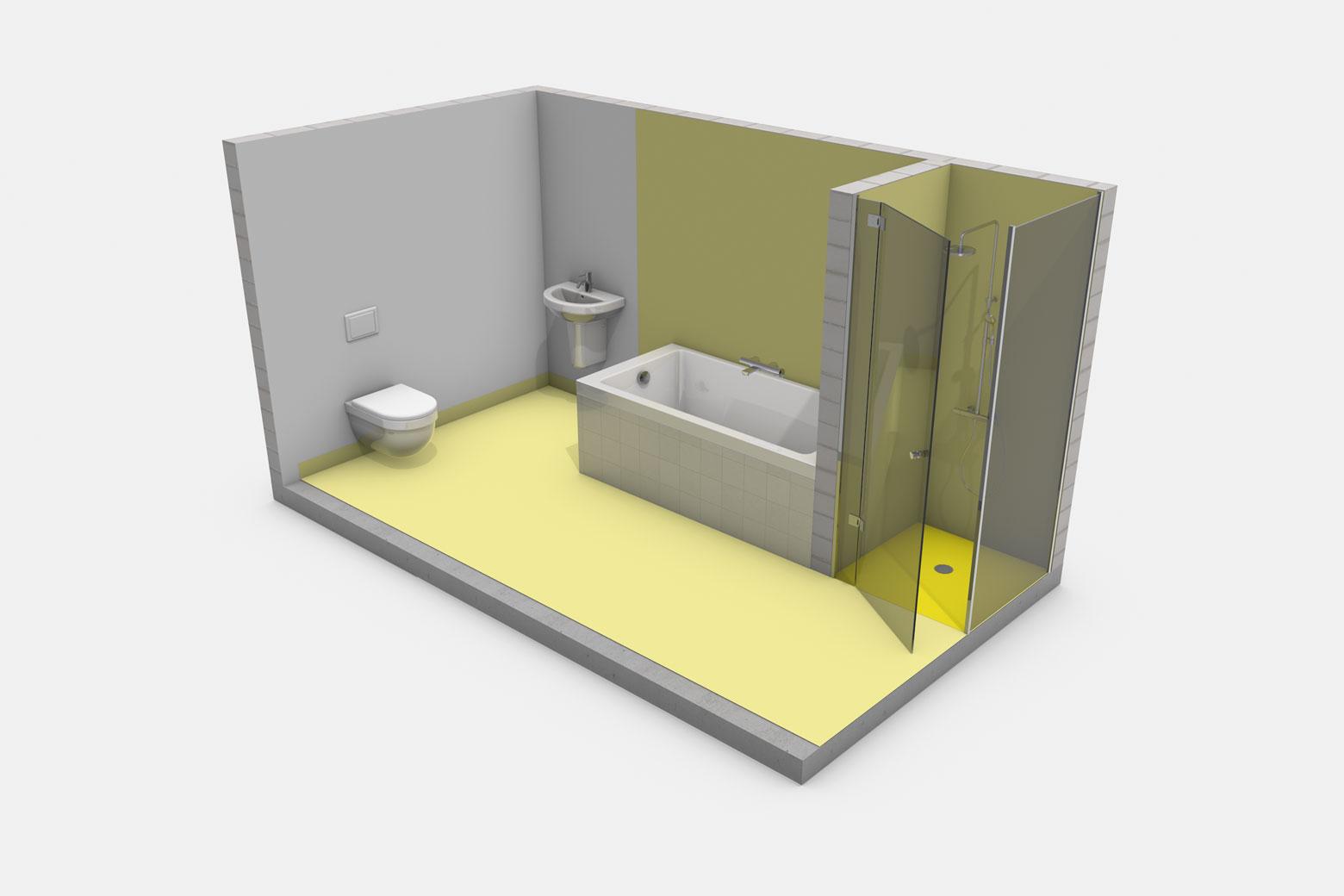 Häusliches Bad mit Badewanne ohne Brause und mit bodengleicher Dusche mit Duschabtrennung