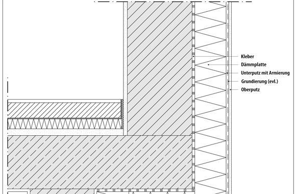 technische Zeichnung von einem Balkon oder einer Terrasse