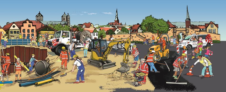 Wimmelbild zu den Baustellen in Osnabrück