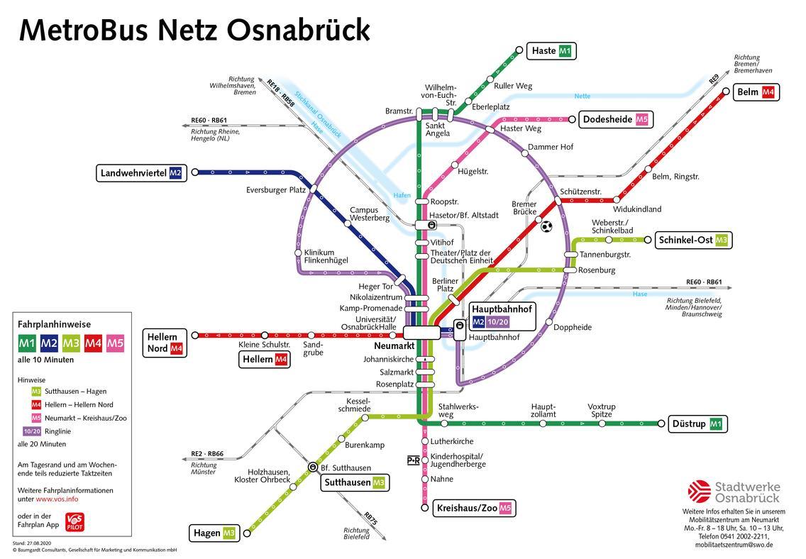 MetroBus Liniennetz für die Stadt Osnabrück