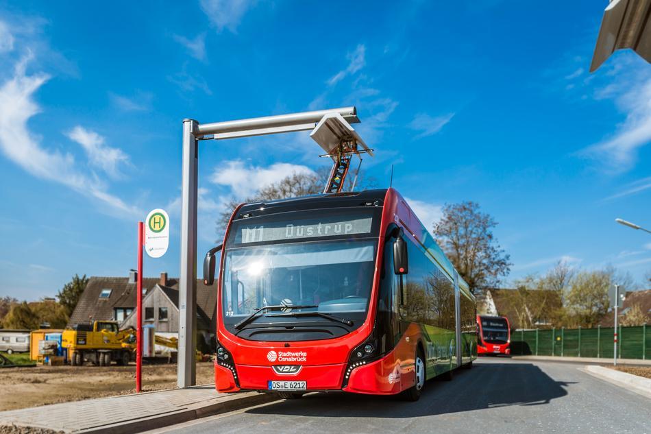 E-Bus Endewende im Osnabrücker Stadtteil Haste