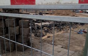 Absperrung auf einer Baustelle