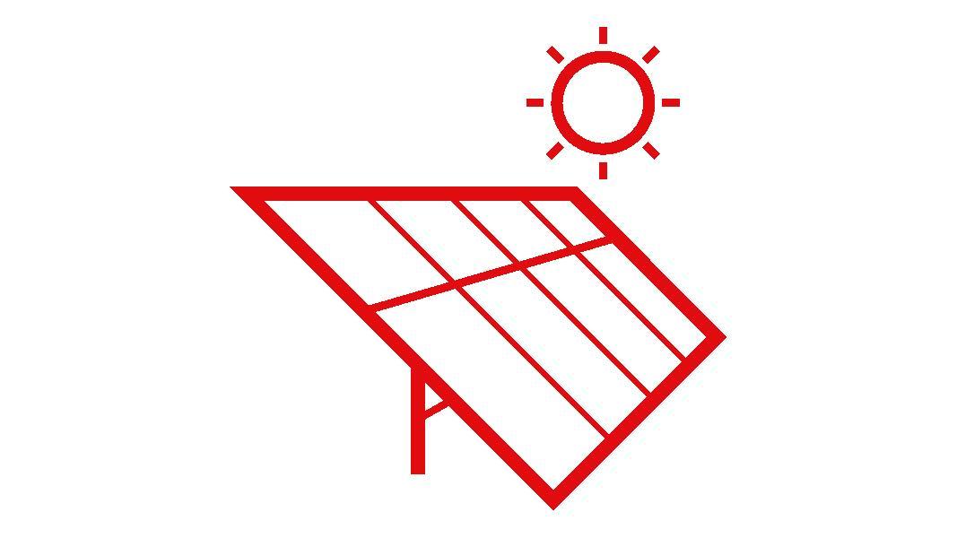 Grafik einer Solaranlage mit einer Sonne oben rechts