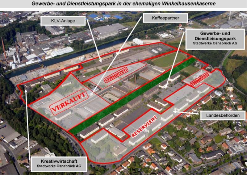 Übersicht zur Erschließung der ehemaligen Winkelhausenkaserne in Osnabrück