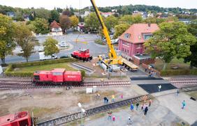 Restaurierungsarbeiten an der Hafenbahn