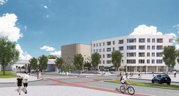 Die Ansicht zeigt die bisherigen Planungen für den Bau eines mehrgeschossigen Wohn- und Geschäftsgebäudes auf der bisherigen Parkplatzfläche nahe des Berliner Platzes.
