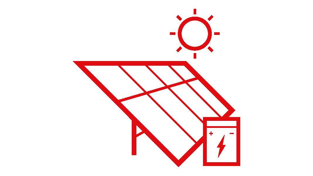 Grafik einer Solaranlage mit einem Stromspeicher