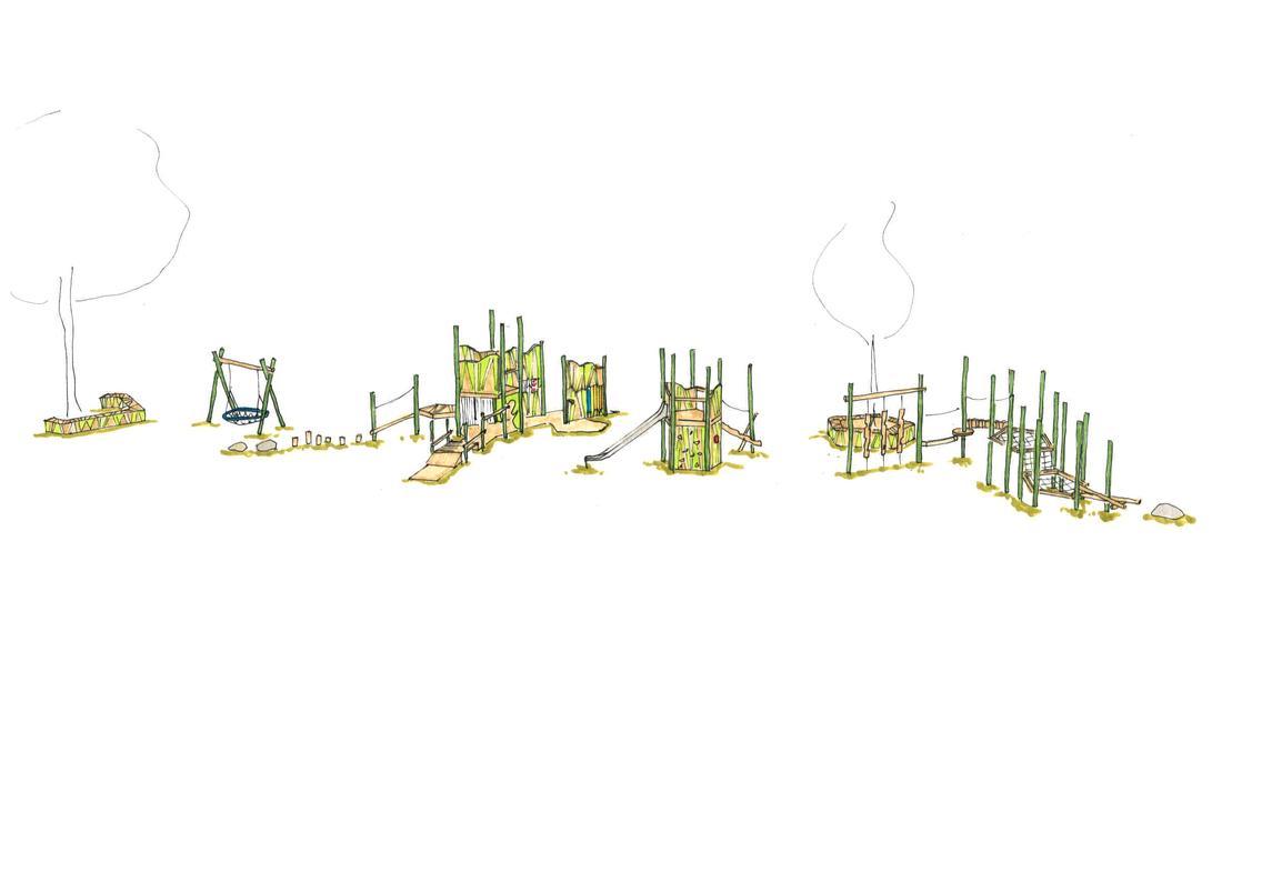 Entwurfsskizze Fünfecke und Kurven Bereich 6 bis 12