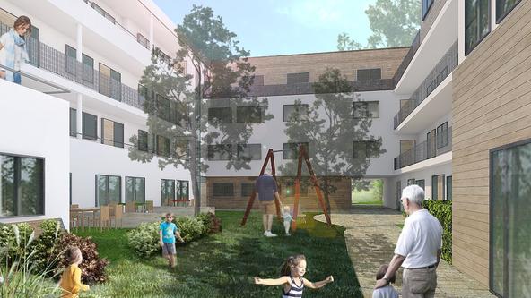 Wohnhöfe Große Eversheide - Innenhofperspektive eines Wohnhofes (Planung)