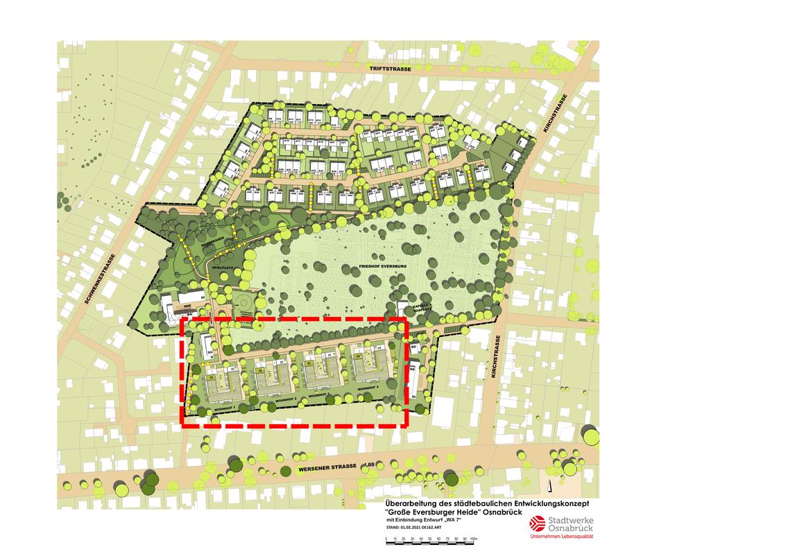 """Lageplan Städtebaulicher Entwurf Bauprojekt """"Große Eversburger Heide"""""""