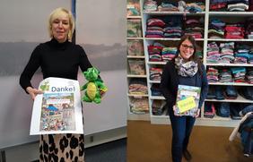 """Eine jeweils 1000-Euro-Wimmelbuch-Spende geht an die beiden Osnabrücker Hilfsprojekte """"Kijuba"""" (Heike Köhler, links) und """"Jedes Kind braucht einen Engel"""" (Christine Stuber)."""