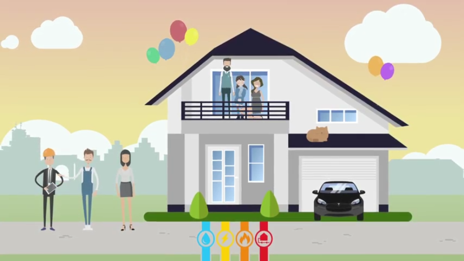 Eine Familie hat einen Hausanschluss beantragt