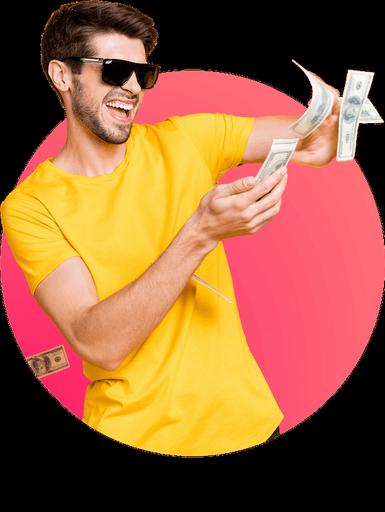 Mann zeigt Geldscheine