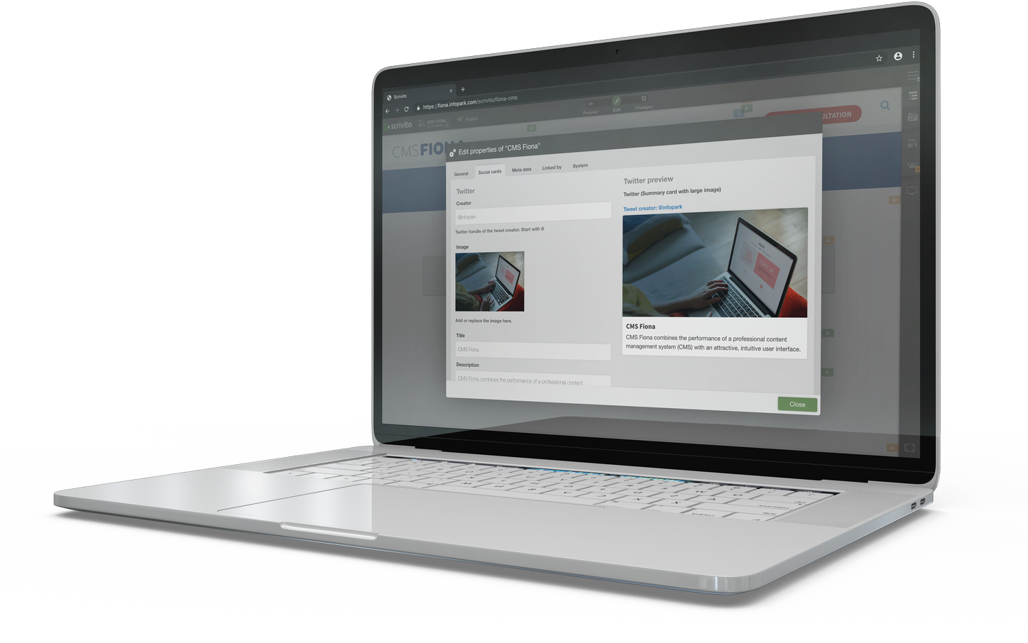 Laptop showing enterprise CMS functionality and features