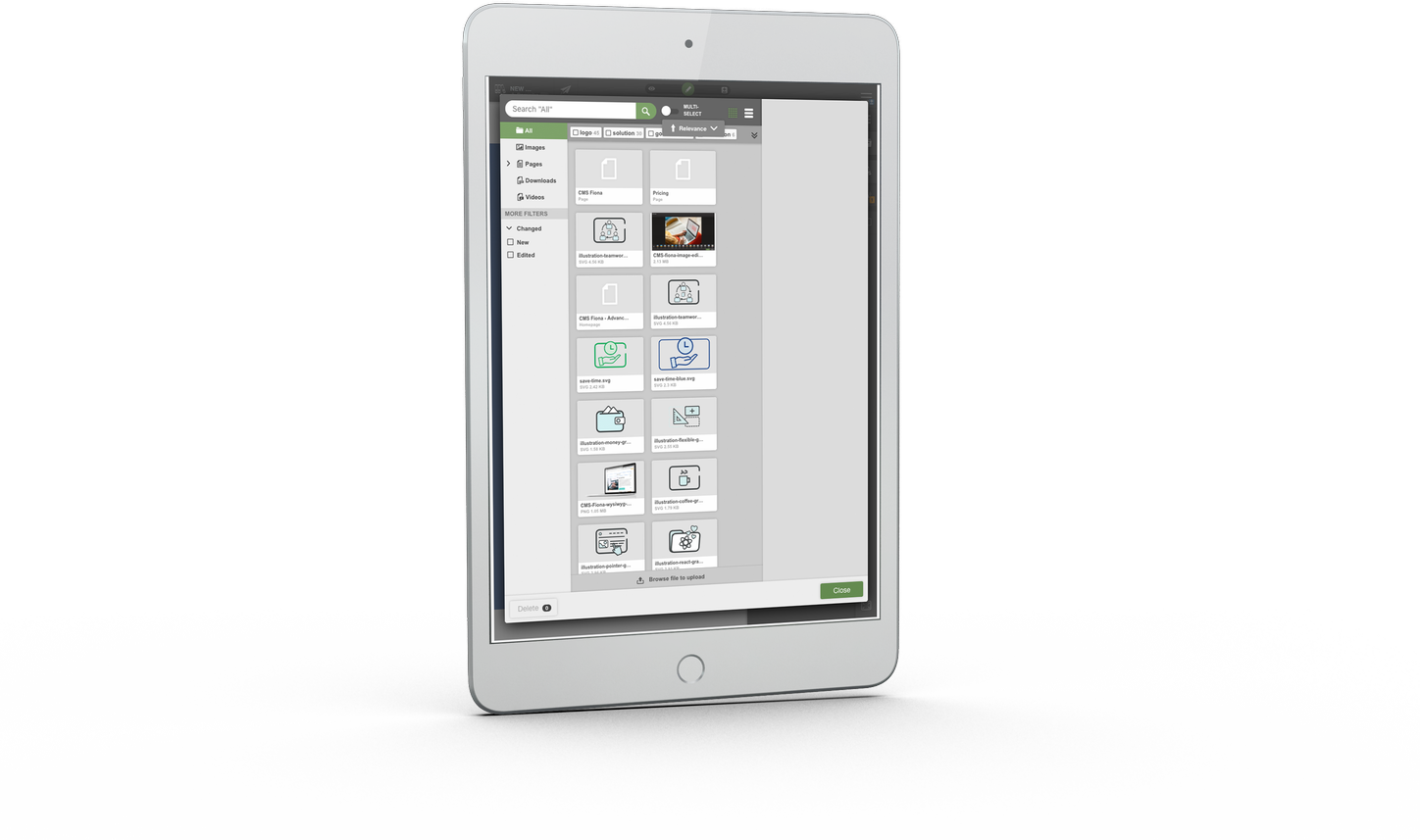 Tablet showing content management software user interface