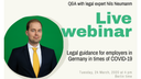 Live webinar: Legal guidance for employers in Germany in times of COVID-19