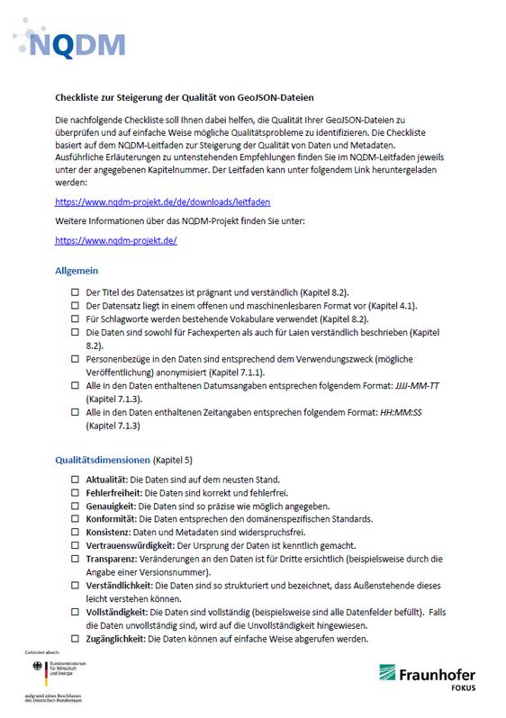 NQDM Checkliste geoJSON Titelbild