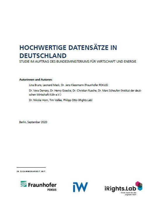Studie Hochwertige Datensätze in Deutschland