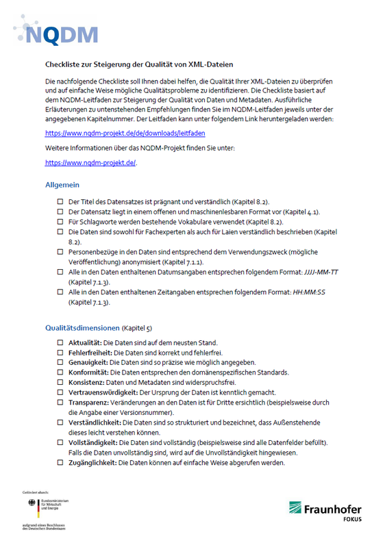 Checkliste NQDM XML Titel